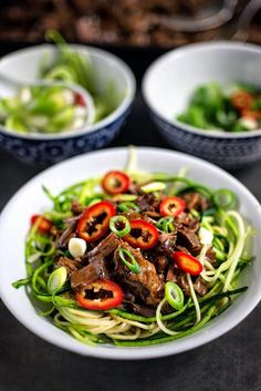 Slow cooker Chinese Pulled Beef with zucchini noodles | Supergolden Bakes