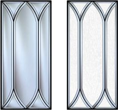 Gothic Arch Design Cabinet Glass. This design is made using all custom Beveled Cut Glass. Kitchen remodel.