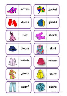 to practice vocabulary (clothes); I think, the pupils and also teachers will enjoy this domino (clothes); Vocabulary Worksheets, English Vocabulary, English Grammar, Teaching English, Printable Worksheets, Vocabulary Games, English Lessons For Kids, Kids English, Learn English