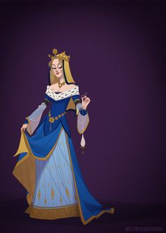 Disney princesses in period appropriate clothing.  These designs are much more beautiful than what Disney went with, though they would probably take much longer to animate!