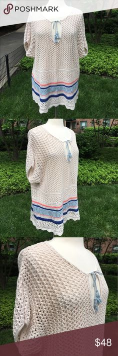 """Sanctuary Cream Over Sized Knit Sweater Cream Knit Sweater has a self tie neckline, short sleeves and scalloped hem. Features a blue and orange stripe around the lower half. Measures 21""""inches armpit and 27""""inches long. 100% cotton. Hand wash Sanctuary Sweaters Crew & Scoop Necks"""