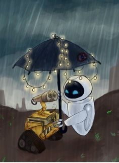 WallE and Eva in the rain. <3