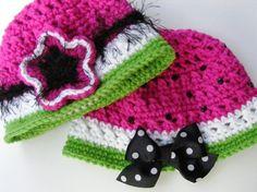 Crochet Hat Pattern Watermelon Bucket Style by PatternsByKriss