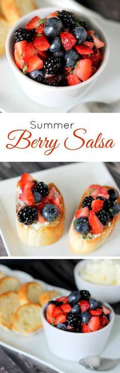 Utilize all those berries that are in season - make a Summer Berry Salsa! So easy and tastes amazing, serve on a baguette slice, crostini or cinnamon chips!
