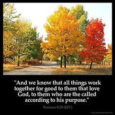 And we know that all things work together for good to those who love God, to those who are the called according to His purpose.  For whom He foreknew,  He also predestined to be conformed to the image of His Son, that He might be the firstborn among many brethren. Moreover whom He predestined, these He also called; whom He called, these He also justified; and whom He justified, these He also glorified.   Romans 8:28-30