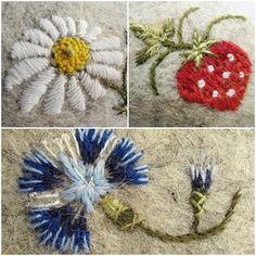 Embroidery on felt by Estonian embroidery artist Helena. via her blog, Helena pesa