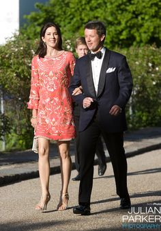 Crown Prince Frederik and Crown Princess Mary of Denmark arrive for a Dinner Party at Fredensborg Palace