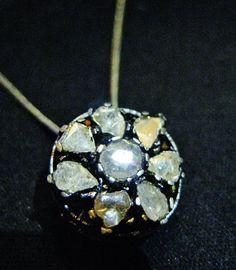 Stars of Atlantis - Old Antique Victorian DIAMOND Slide Pendant - Natural Cut Diamonds - 14k Gold & Silver - Destiny, Love, Protection