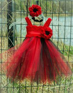 Red and Black Crochet Tutu Dress Girls tutu by SimplyDoneCrochet, $50.00