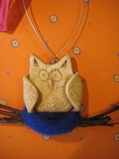 Handmade Polymer Clay Owl Ornament by CrimsonHeartStudios on Etsy