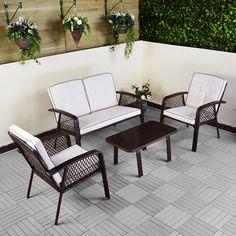 Rattan Sofa Set 4 Pc Garden Furniture Deck Pool Outdoor Black Brown Table Chairs