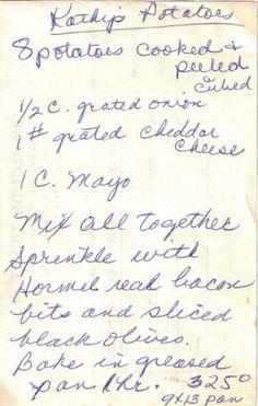 Handwritten Recipe Slip For Kathy's Potatoes