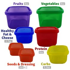7 x Healthy Eating Portion Control Pots Marked Containers Weight Loss Diet Slim Nutrition Tips, Healthy Nutrition, Healthy Fats, Healthy Eating, Portion Control Containers, Calorie Counting, Food Storage, Make It Simple, Healthy Lifestyle