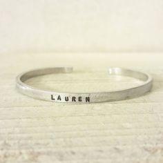 Super Skinny Engraved Silver Cuff Bracelet  by jennascifres