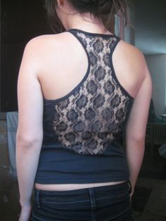cut out back of tank. Use as template to add lace