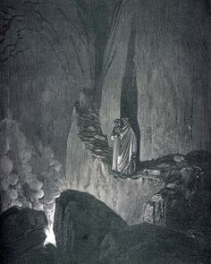 Dante and Virgil descend into the 8th circle of hell. Illustration by Gustave Doré....DANTES INFERNO
