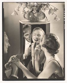 "Ad for Coty lipstic around 1930 by steichen.... ""The colour suits you...milady...not so sure his wife would agree!"" #oldphoto#oldphotograph#photography#fashion#vintagefashion#style#blackandwhitephotography#blackandwhite#icon#legend#steichen#edwardsteichen#mirror#reflect#reflection#style#class#milady#beautiful#portrait#oic#picoftheday#pictureoftheday#image#coty#lippy#lipstick#deco#artdeco#1920s#1930s"