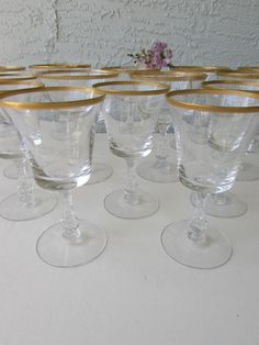 Mid Century Fostoria Crystal Gold Rimmed Stemware Piece Set of Fostoria Richmond 10 Wine Glasses and 8 Coupe Champagne Tall Sherbet- Fostoria Crystal, Fostoria Glass, Crystal Stemware, Vintage Stamps, Vintage Dishes, Designer Pillow, Vintage Furniture, Mid Century, China