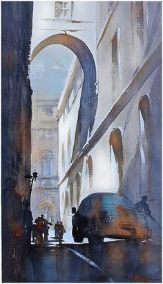 """""""driving in rome"""" thomas w schaller watercolor 24x14 inches 09 january 2014"""