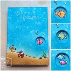Inspired by Sandy Allnock I made this spinning wheel card. You can choose between 4 fishes Have a fintastic day :)  Inspiriert durch Sandy Allnock habe ich diese Drehkarte gemacht. Man kann sich zwischen 4 Fischen entscheiden :) Ich glaube für den Spruch gibt es keine gute/witzige Übersetzung auf Deutsch :D