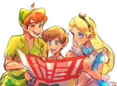 Peter Pan, Christopher Robin, and Alice
