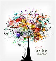 Grunge Colorful Tree Vector Illustration