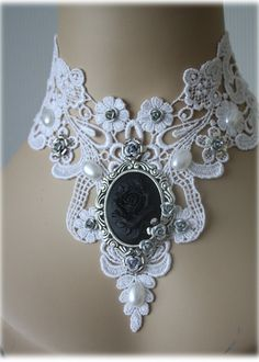 Gothic choker - Cameo Choker - Victorian Choker Supersize white black silver baroque ornate flowers rose