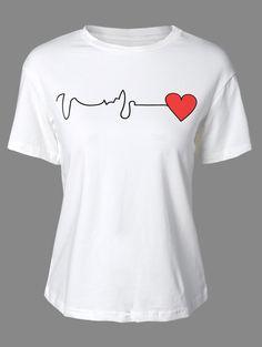 Heart Print Round Neck Short Sleeve T-Shirt WHITE: Tees | ZAFUL