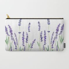 Lavender+watercolor+flower+blue+color++Carry-All+Pouch+by+Color+And+Color+-+$18.00