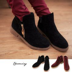 Buy 'Lucky Leaf – Zip-Accent Genuine Suede Ankle Boots' with Free International Shipping at YesStyle.com. Browse and shop for thousands of Asian fashion items from Taiwan and more!