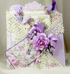 Creative Moments by Nancy Hill: Criss Cross Card with Stamperia Lavender Paper Handmade Birthday Cards, Happy Birthday Cards, Birthday Greetings, Birthday Wishes, Handmade Cards, Fancy Fold Cards, Folded Cards, Shabby Chic Birthday, Vintage Birthday