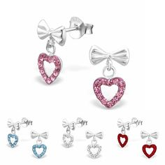 Bildhübsche Schleifen Kinderohrstecker mit hängenden Herz Anhängern. Die  Mädchen Ohrringe sind aus hochwertigem 925er Silber cd784d80bc