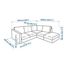 VIMLE Sectional, corner, with open end/Farsta dark brown - IKEA Ikea Vimle, Ikea Sofa, Extra Storage Space, Storage Spaces, Arranging Bedroom Furniture, Human Dimension, Cosy Sofa, Leather Footstool, Angles