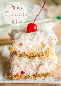 Pina colada bars.. pineapple, coconut, cool whip, cream cheese, maraschino cherries, nilla wafer crust