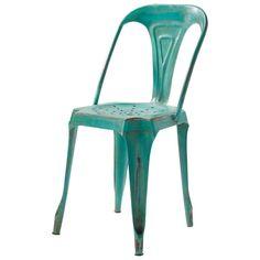 Chaise indus en métal verte