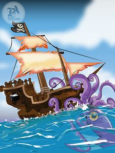 Pirate Ship Giant Squid Attack