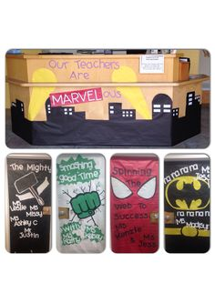 "Super Hero doors--these could also be used for a book display. Could say ""Our Librarians are Marvelous"""
