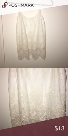 Forever 21 Crochet Mesh Tank Top Crochet mesh cream color tank top! Only worn 1 time. Would look good with dark jeans. Runs true to size! It is a little longer in length though Forever 21 Tops Tank Tops