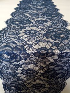 Navy blue  Lace Table runner  12   navy by WeddingTableRunners
