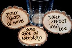 Set of 3  Handcrafted 'Drink' Woodburned Coasters by ZSDesign