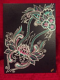 """""""Lotus Tower"""" is an original painting done in Henna Style with High Quality… Puffy Paint Designs, How To Draw Flamingo, Art Room Posters, Paisley Art, Cosmic Art, Henna Style, Geometric Embroidery, Mandala Dots, Henna Art"""
