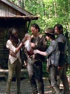 "Lovin' on Lil'  Asskicker;Season 5 Premier  ""No Sanctuary"". Michonne, Judith, Rick, Carl & Daryl. <3"