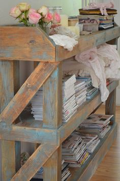 Hubby could total make this for me! Distressed book shelf