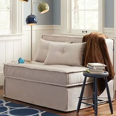 no guest room? no problem! get seating that does double duty as a guest bed  [PB Teen - Cushy Sleeper Sofa]
