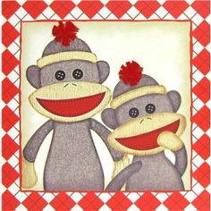 Cream & Red Argyle Sock Monkey Canvas Kids Art by ThatsSoKute, $37.00