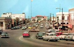 Looking west on Pier Ave @ Hermosa Ave. Hermosa Beach, CA California History, Vintage California, Southern California, Vintage Surf, Family Vacation Spots, Hermosa Beach, Huntington Beach, Beach Photos, Old Pictures