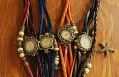 Antiqued Brass Leather Charm Watch-Perfect Stocking Stuffer! 50% off at Groopdealz