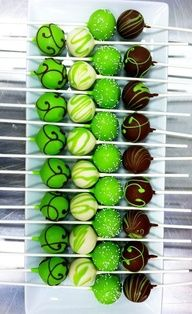 green and brown cake pops