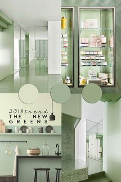 It's interesting to see the evolution of interior color trends in design and decor. Greens are turning from dark to pastel greens, like celery green, seafoam and celadon that were trending at IMM Cologne 2018 Green Paint Colors, Wall Colors, House Colors, Colours, Dark Interiors, Shop Interiors, Colorful Interiors, Architecture Design, Green Painted Walls