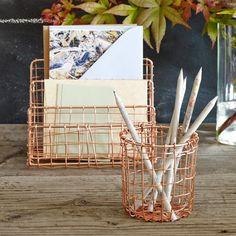 Cabo Pencil Cup - Copper - Metal Wire Pen Pot - Design Ideas